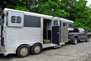 My horse trailer was thoroughly cleaned for the long ride from my farm to Skylands. This trailer accommodates two horses and all the necessary horse tack and other supplies needed for their stay.