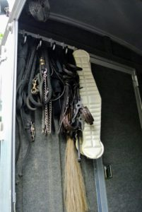 There are ample hooks for all the bridles, girths, and harnesses.