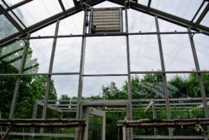 Here is one of the completed ends - look how clear! There is so much height in this glass greenhouse.