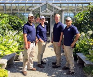 Alfredo Avila, on the far right, came with some of his current colleagues from nearby AP Farm. They were all very eager to walk through the gardens and learn how we grow and maintain all our plants, trees, and vegetable crops.