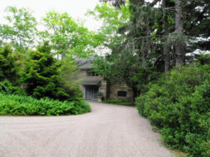 This is my circular driveway at the front entrance. The driveways and all the carriage roads at Skylands are covered with finely crushed pink granite stone. I love how it looks against the bold green foliage.