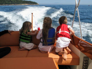 All the children love going out on the boat - always with their life vests, of course.