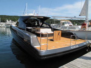 "On another day, I took a ride on Dick Wolf's new Italian made Wally speedboat, ""Illegal""."