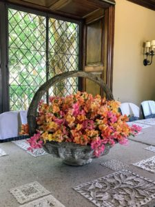A palette of pinks and oranges look very pretty against the earth tones in my dining room. These snapdragons are in a giant faux bois basket. See another photo of this arrangement on my Instagram page @MarthaStewart48.