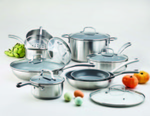 I am so proud of my new Martha Stewart Collection Culinary Science Cookware. This 14-piece set includes a 1.5-quart saucepan with lid,a 2.5-quart saucepan with lid, a 3-quart sauté pan with lid, an eight-inch fry pan, a 10-ich fry pan with lid, a 12-inch fry pan with lid, an 8-quart stockpot with lid, and a steamer insert for the 2.5-quart saucepan.