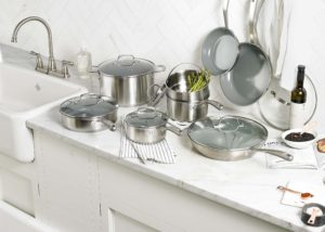 The pieces are compatible with all cooktops, including induction.