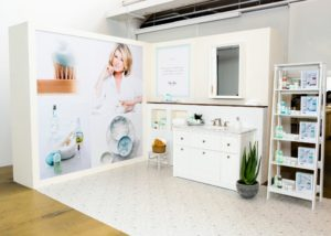 In this corner, we set-up our skincare display. I collaborated with the team at Mario Badescu to develop this line. It is scheduled to launch on November 10 at 9pm ET and 10pm ET on QVC's Beauty iQ. (Photo by Sam Deitch for BFA.com)