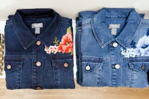 These are two of my new denim jackets, embellished with fun floral designs. My collection includes denim essentials as well as comfortable knit tops. (Photo by Sam Deitch for BFA.com)