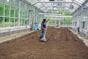 Wilmer used a lawn and garden rake to tidy up the top layer of soil and give it a finished look.