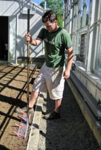 Next, Ryan uses the Bed Preparation Rake from Johnny's Selected Seeds to mark where the beds will be.