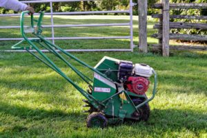 This core aerator is self-propelled, which makes pushing and turning much easier.