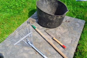 There are many types of tools that help with weeding. I prefer the short hand-tools best, so as not to disturb any of the neighboring non-weed specimens. For pulling weeds on this day, the crew used hoes, both long-handled and short-handled - garden hoes are ideal for chopping, weeding and clearing garden growth. Garden rakes are used to gather up loose weeds for the compost.