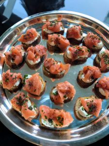 This is salmon crostini from Breads Bakery - so savory and delicious.