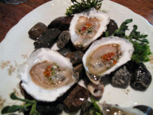 We started with oysters, served with trout roe and dill.