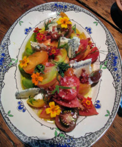 Here is a salad with heirloom tomatoes and local blue cheese.