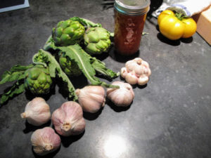 As a gift, I brought apricot jam that I made, and artichokes and garlic that were all grown in my Skylands garden.