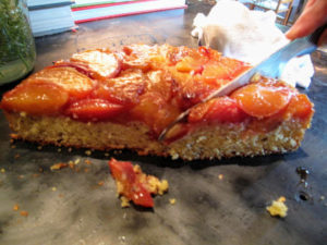 Dessert was caramelized pear corn cake.