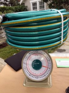 This traditional 100-foot hose weighs 15-pounds - a big difference when having to water an entire garden on a warm day.