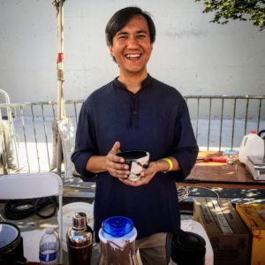 Owner, Niraj Lama, originally from Darjeeling, India, offered samples of three cold brew teas and a hot tea - all fresh and organic.