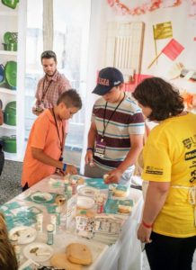 Inside the Martha Stewart Experience Pavilion, visitors enjoyed seeing samples from all my collections. Here, Ethan and Austin, sons of our head of video development, Kim Miller-Olko, enjoyed making stenciled wooden plaques using Martha Stewart Crafts supplies.