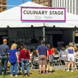 By early afternoon, visitors flocked to the culinary stage for the food demos.