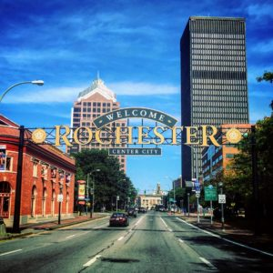 Rochester is a city on Lake Ontario, in New York State. It is the third most populous city, with more than 200-thousand residents.