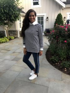 Tynisa is wearing one of my Classic Stripe Boat Neck shirts and my Martha Stewart Regular Faux Pearl 5-Pocket Ankle Jeans.