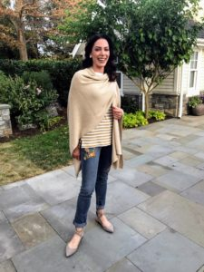 Chantal is wearing my Open Front Wrap Sweater, which will be available soon. This wrap is one of my favorite pieces - you'll love it this season.