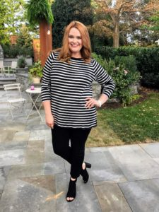 Jessica is wearing one of tunics. These shirts are all 100-percent cotton with yarn-dyed stripes and boat necks. It includes longer body length with side slits - so, so comfortable.