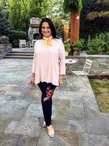 Adrienne is wearing my Scoop Neck Tunic, which is also 100-percent cotton - I love the soft blush pink color.