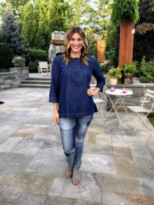 Bonnie has on my Slit Neck Denim Tunic. It comes in a light and dark wash with sleeves that are easy to roll up. They match wonderfully with my Patchwork Jeans - another big favorite of mine.
