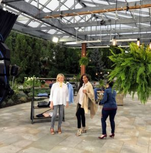It's a large set, with a glass roof, so there's lots of natural light coming in - here I am with our model, Amanda, and QVC host, Jane Treacy.