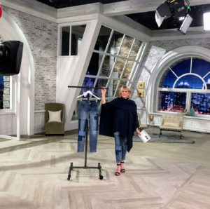 That evening, we did another one-hour show. It was a very busy day at QVC. Here I am wearing my Open Front Wrap Sweater with my favorite Patchwork jeans.