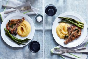 All our Martha & Marley Spoon meal kits are tasty and easy to prepare. Here is our mouthwatering pork chops and asparagus with sage butter and polenta. Everything is delivered fresh, with ingredients from local purveyors.