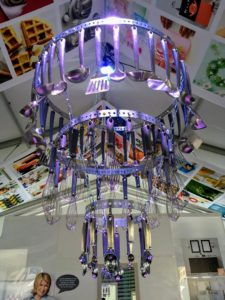 Above the table - a Macy's gadget chandelier made with handy supplies from my collection exclusively at Macy's.
