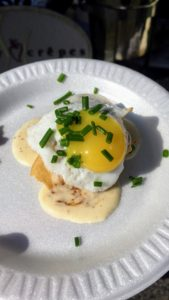 This is their sausage crepe with a sunny-side-up quail egg - so beautiful, delicious and dainty!