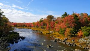 This is Union River, a 22-mile long river that runs through Ellsworth, Maine. In colonial times, it was known as the Mount Desert River.