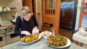 Here is Shqipe removing the centers from the artichokes, so they could be stuffed.
