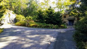 My main circular driveway and all the many roads at Skylands are covered in this crushed pink granite. Every year, all the gravel is collected and put away using a very systematic process.