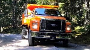 Here is our new Ford dump truck - ready to transport the heavy crushed stone.