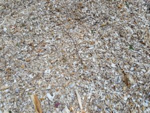 Here is a closer look at the output from our wood chipper - it makes very small wood chip pieces which work great on these roads and in the gardens, where they can block the sun and help keep the soil cool.