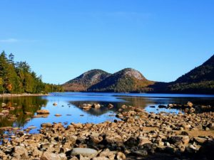 Here is a very popular view of The Bubbles and Jordan Pond. Here you can see the low water levels caused by lack of rainfall.