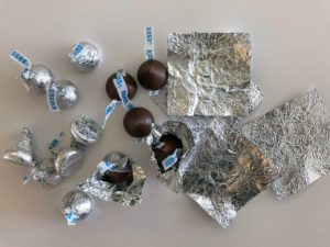 And, for the silver tray, we used foil candy wrappers.