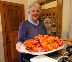 Here is Cheryl with our delicious lobsters from Trenton Bridge Lobster Pound in Trenton, Maine. It's one of my favorite sources for great seafood and delicious lobster rolls. http://www.trentonbridgelobster.com