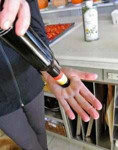 And, do you know how to be sure your olive oil is still good to use? Remove the top, cover the open end securely with one hand, gently swirl the bottle and turn it over.