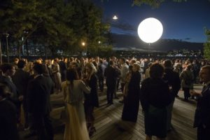 It was a beautiful, still night for a lovely gathering on the Pier. Several large illuminated balls, such as this one, were strategically placed to keep the area well lit after dark. (Photo by 8SP_Simon Luethi)