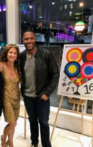 """Here are Dylan Lauren and Michael Strahan standing next to Jessica Biel's """"Sweet 16"""" candy creation."""