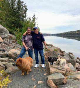 Here's a nice photo of Carlos and Fernando with GK, Bete Noire and Creme Brûlée. G.K. loves these hikes. He is a very good hiker.