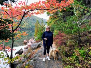 """I stopped for this quick photo. I am walking Empress Qin, also known as """"Qin Qin"""". We're on another rim of the pond trail. All dogs must be on leash at all times."""