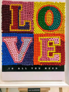 This candy mosaic, made entirely from M&Ms, is from model, Lily Aldridge.